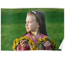Young girl in summer day. Poster