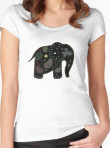 black embroidered elephant Women's Fitted Scoop T-Shirt