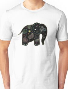 black embroidered elephant Unisex T-Shirt