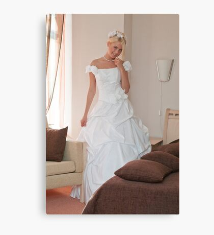 Bride in interior Canvas Print
