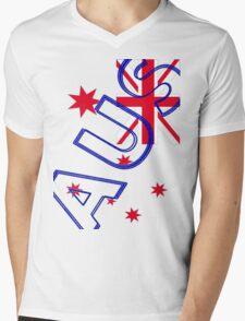 AUS Flag Mens V-Neck T-Shirt