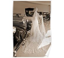 Bride And Antique Cars Poster