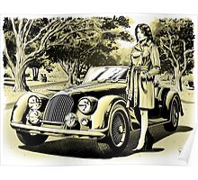 Woman with vintage car Poster