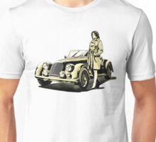 Woman with vintage car Unisex T-Shirt