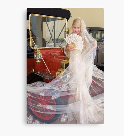 Bride And Antique Car Canvas Print