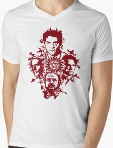 Supernatural Portraits in blood Mens V-Neck T-Shirt