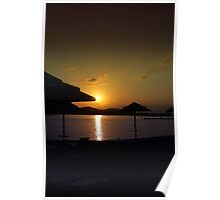 Beach Umbrellas at Sunrise  Poster
