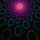 Spiral Circles Funky Retro Abstract Fractal  by Leah McNeir