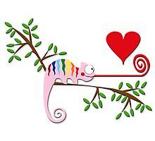 Gay Chameleon in Love Photographic Print