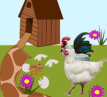 Rooster ,Hen And 2 Chicks  by aldona