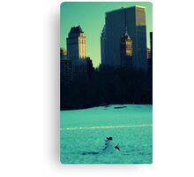 Timeless Snowman in Central Park Canvas Print