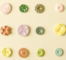Vintage Button Card Pastel Buttons by JillianAudrey