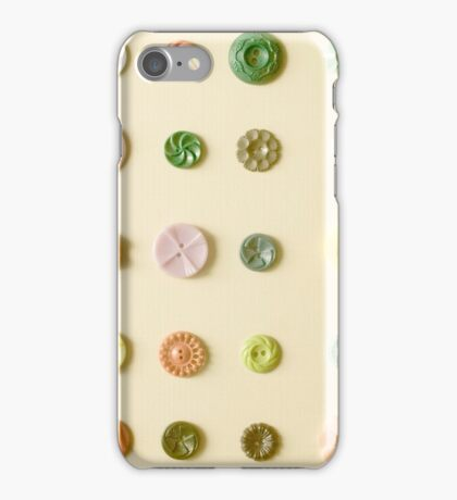 Vintage Button Card Pastel Buttons iPhone Case/Skin