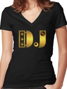 DJ gold Women's Fitted V-Neck T-Shirt