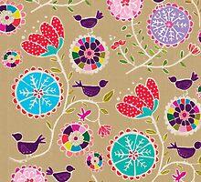 Fancy Folk Flowers by Sandra Oost