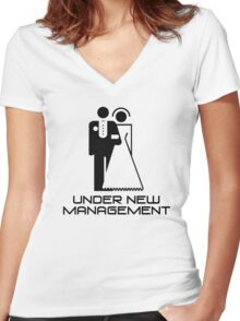 Under New Management Marriage Wedding Women's Fitted V-Neck T-Shirt