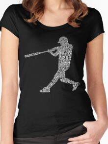 Baseball Softball Player Calligram Women's Fitted Scoop T-Shirt