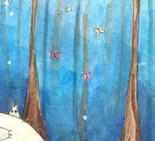 Totoro in the woods Sticker
