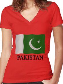Pakistani flag Women's Fitted V-Neck T-Shirt
