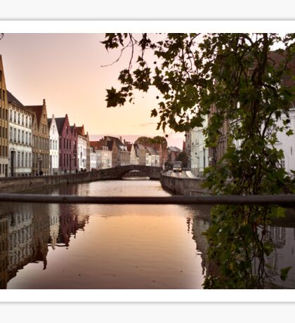 sunset over bruges Sticker