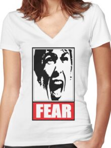 FEAR I Women's Fitted V-Neck T-Shirt