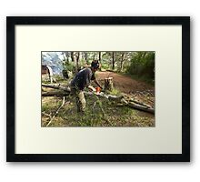 Chainsawing Framed Print