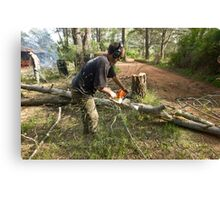Chainsawing Canvas Print