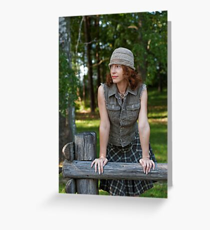 Woman with cap in nature Greeting Card