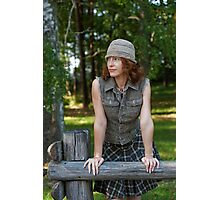 Woman with cap in nature Photographic Print
