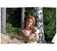 Woman at the birch Poster