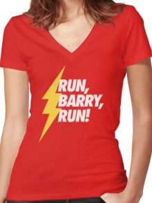 Run, Barry, Run! (White on Red) Women's Fitted V-Neck T-Shirt