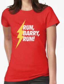 Run, Barry, Run! (White on Red) Womens Fitted T-Shirt