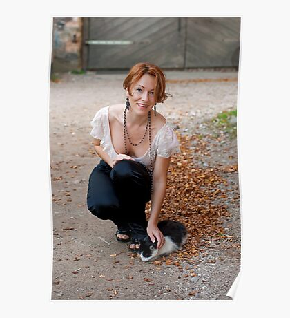 Beautiful woman with cat Poster