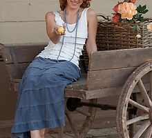 Women in old cart by fotorobs