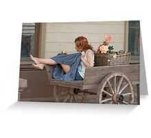 Women in old cart Greeting Card