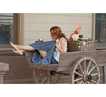 Women in old cart Photographic Print