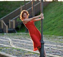 Women on the tram stop by fotorobs