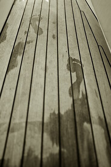 Footprints on teak by benjy