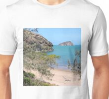 Island in the bay with trees and beach Unisex T-Shirt