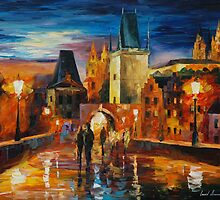 NIGHT IN PRAGUE - LEONID AFREMOV by Leonid  Afremov