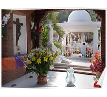 Colourful and peaceful - graveyard in Puerto Vallarta, All Souls' Day Poster