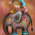 Circus tricks on an elephant by Kristy Spring-Brown