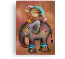 Circus tricks on an elephant Canvas Print
