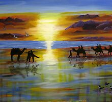 Camel Ride in the Sunset by macl