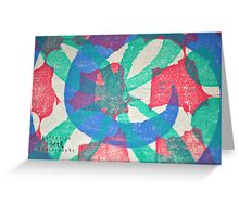 Printmaking Blue & Pink Greeting Card