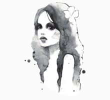Romantic girl. Watercolor painting. Black and white Kids Clothes