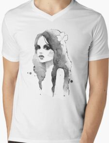 Romantic girl. Watercolor painting. Black and white Mens V-Neck T-Shirt