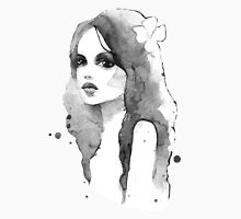Romantic girl. Watercolor painting. Black and white Womens Fitted T-Shirt