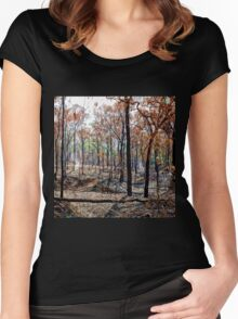 Smoky landscape after a fire Women's Fitted Scoop T-Shirt