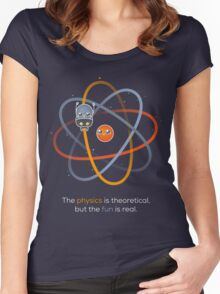 The physics is theoretical... Women's Fitted Scoop T-Shirt